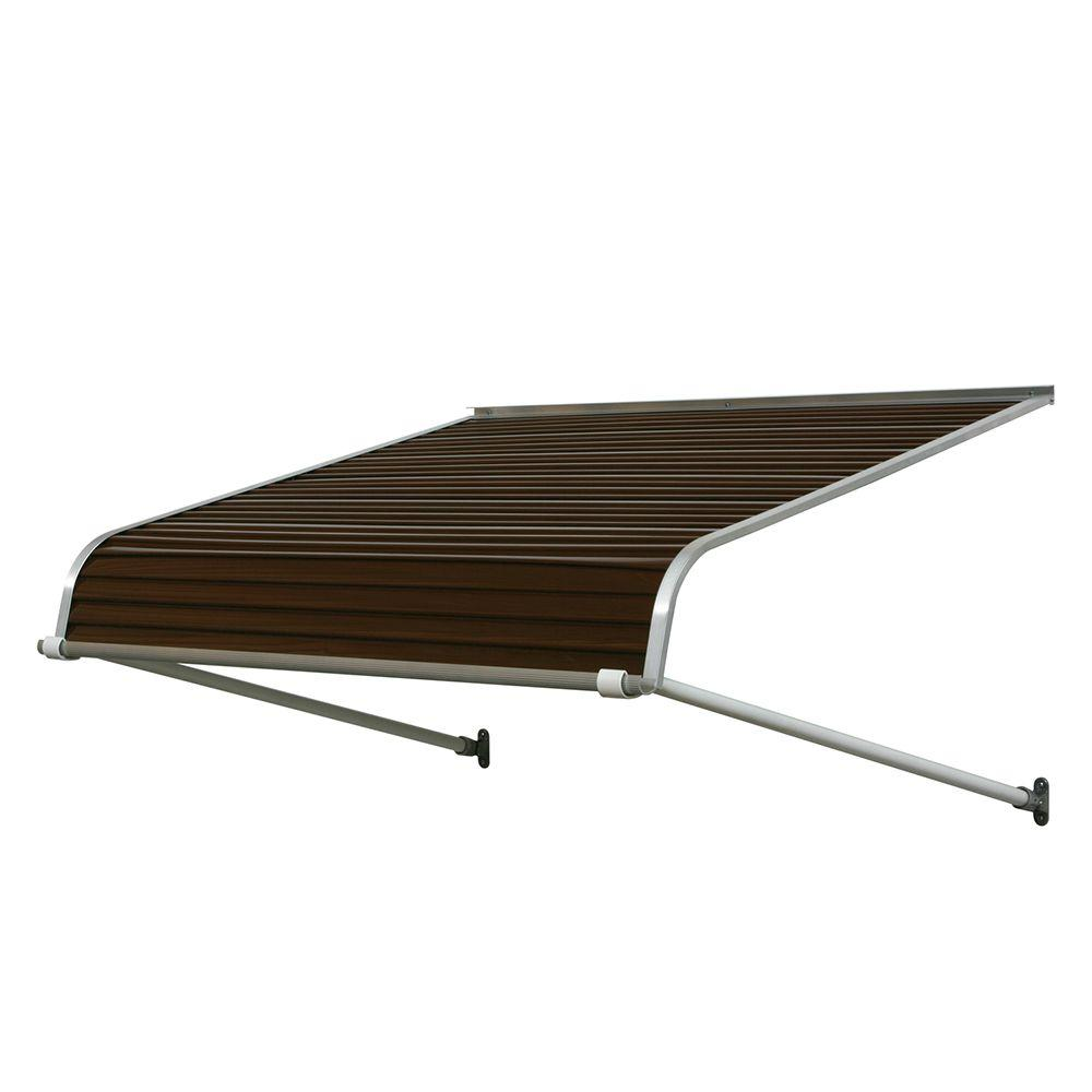 NuImage Awnings 5 ft. 1100 Series Door Canopy Aluminum Awning (12 in. H x 42 in. D) in Brown