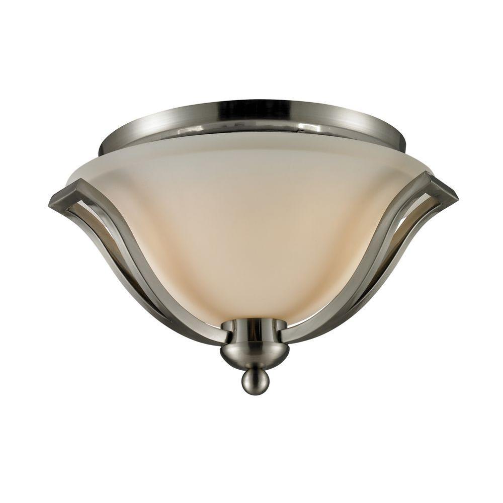 Lawrence 2-Light Brushed Nickel Incandescent Ceiling Flushmount