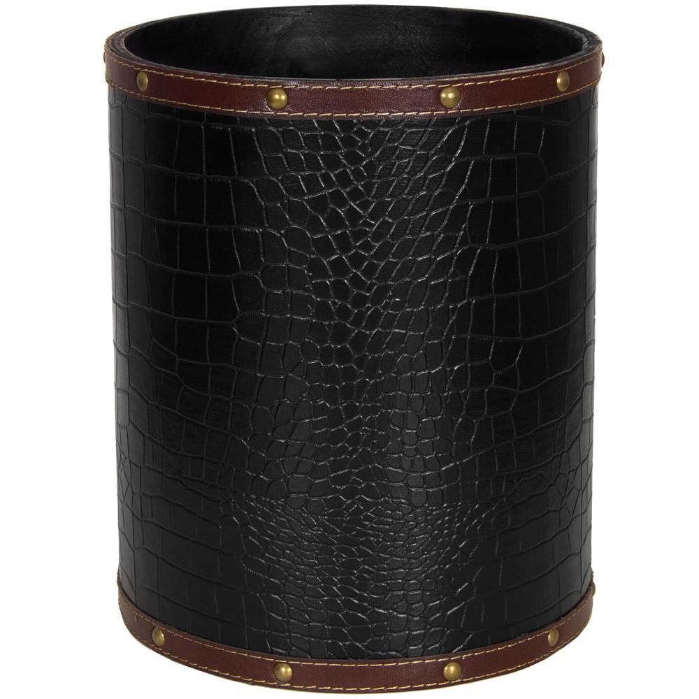 Attractive Oriental Furniture 8.25 In. X 10 In. Black Faux Leather Waste Basket