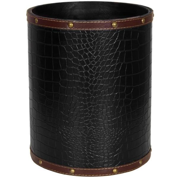 Oriental Furniture Oriental Furniture 8.25 in. x 10 in. Black Faux Leather Waste Basket
