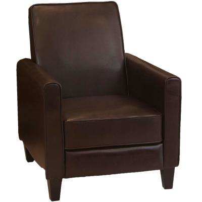 Darvis Brown Leather Recliner Club Chair