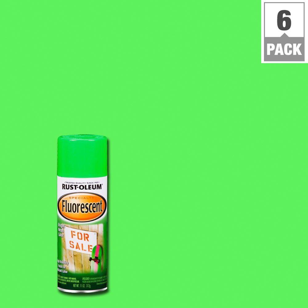 11 oz. Fluorescent Green Spray Paint (6-Pack)