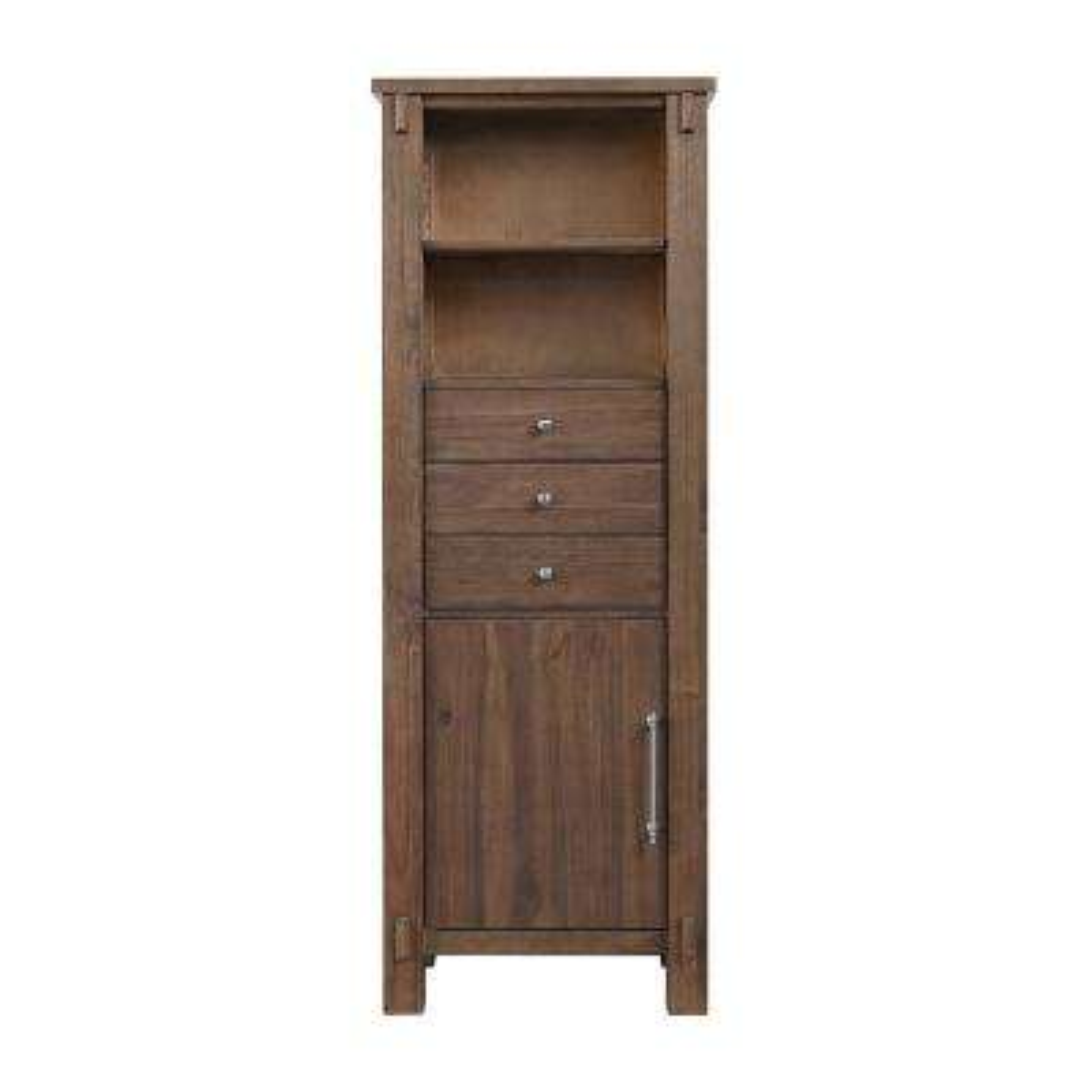 Waltham 24 in. W x 14 in. D x 65 in. H Single Door Linen Cabinet in Walnut