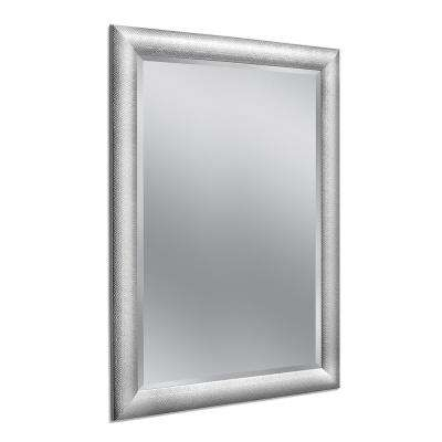 Hammered 36 in. x 46 in. Chrome Single Wall Mirror