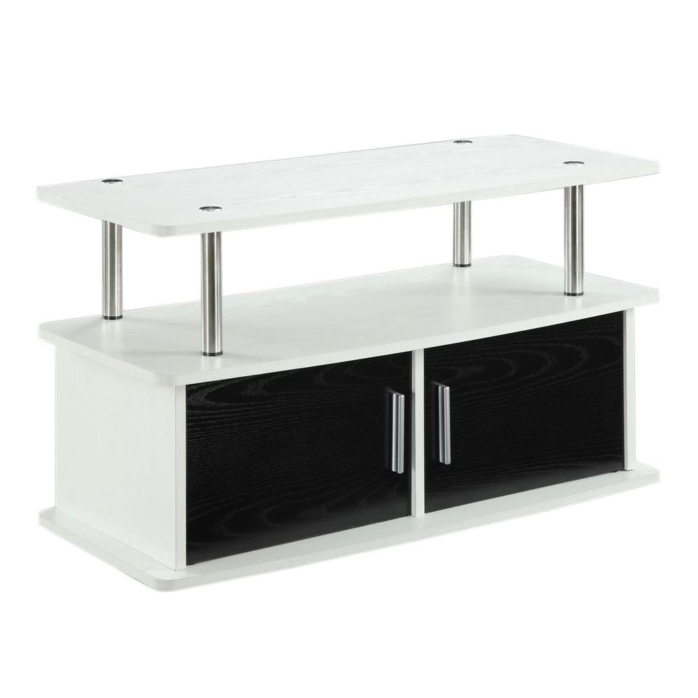Tv Stand white black Media Center Entertainment Furniture storage ...