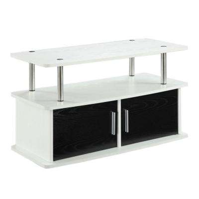 Delightful Designs2Go Deluxe White And Black Storage Entertainment Center