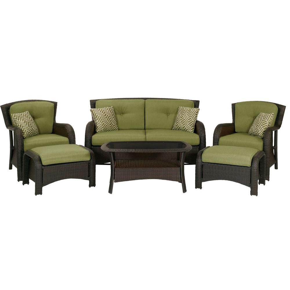 Hanover Strathmere 6 Piece Deep Wicker Patio Seating Set With Cilantro Green Cushions