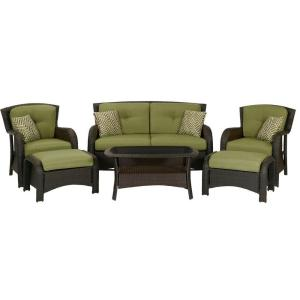 Perfect Strathmere 6 Piece Deep Wicker Patio Seating Set With Cilantro Green  Cushions