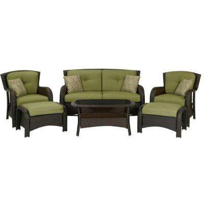 Strathmere 6 Piece Deep Wicker Patio Seating Set With Cilantro Green  Cushions