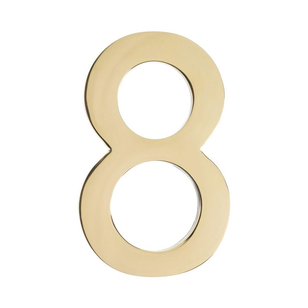 4 In. Polished Brass Floating House Number 8
