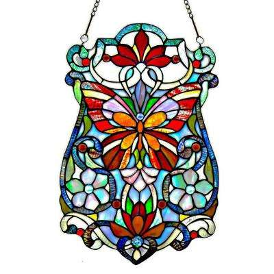 Multi-Colored Stained Glass Butterfly Fleurs Window Panel