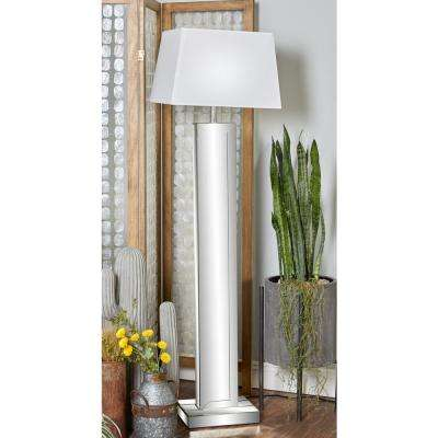 65 in. Gray Mirrored Wood Floor Lamp with LED
