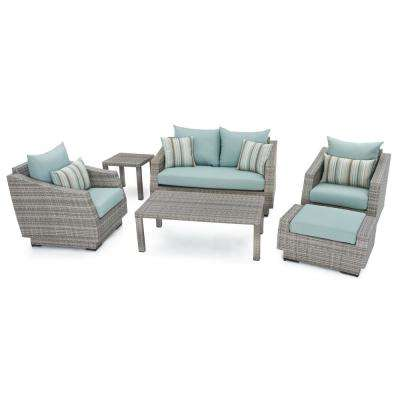 Cannes 6 Piece Patio Seating Set With Bliss Blue Cushions