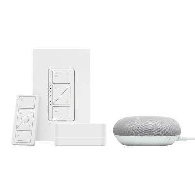 Caseta Wireless Smart Lighting Dimmer Switch Starter Kit w Google Home Mini Chalk