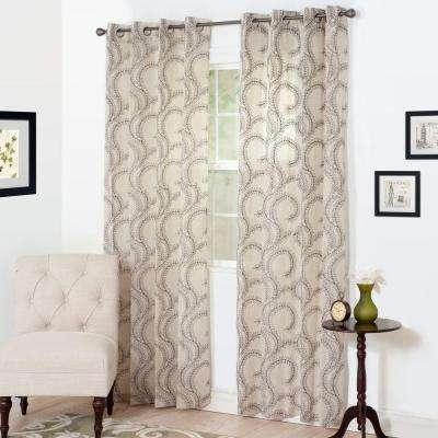 Semi-Opaque Andrea Charcoal Polyester Curtain Panel 54 in. W x 95 in. L
