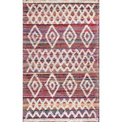 Hand Woven Diamond Kristine Pink 7 ft. 6 in. x 9 ft. 6 in. Area Rug