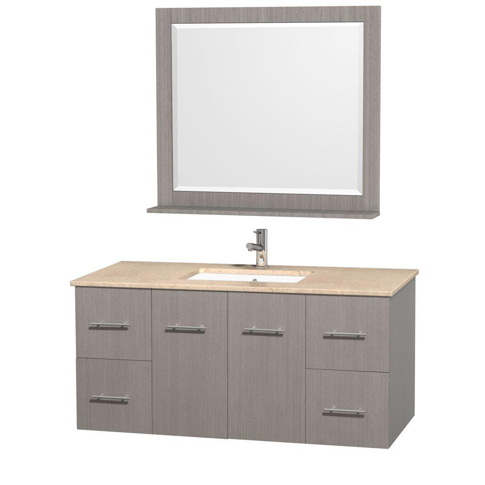 Wyndham Collection Centra 48 in. Vanity in Grey Oak with Marble Vanity Top in Ivory and Undermount Sink