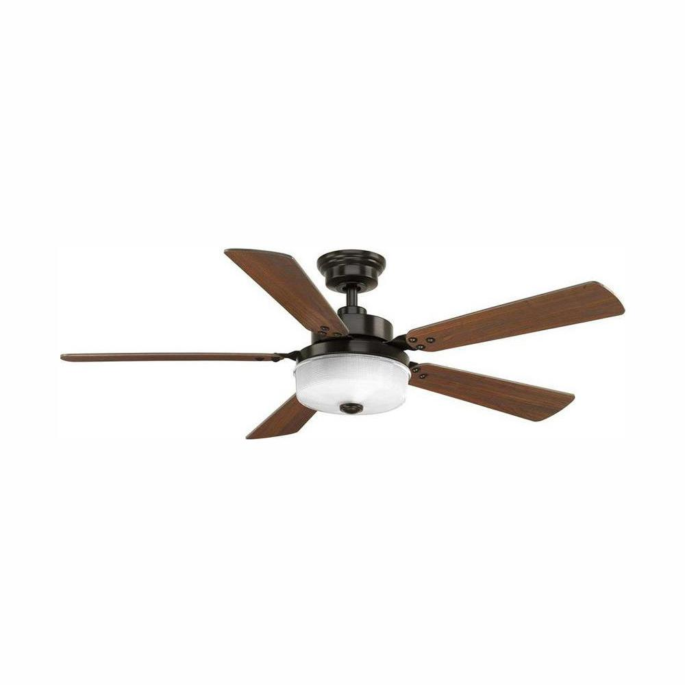 Progress Lighting Tempt 54 in. LED Indoor Antique Bronze Ceiling Fan with Light Kit and Remote