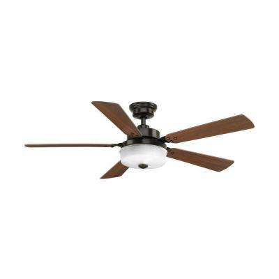Tempt 54 in. LED Indoor Antique Bronze Ceiling Fan with Light Kit and Remote