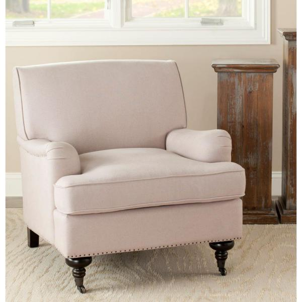 Safavieh Chloe Taupe/Espresso Linen Club Arm Chair