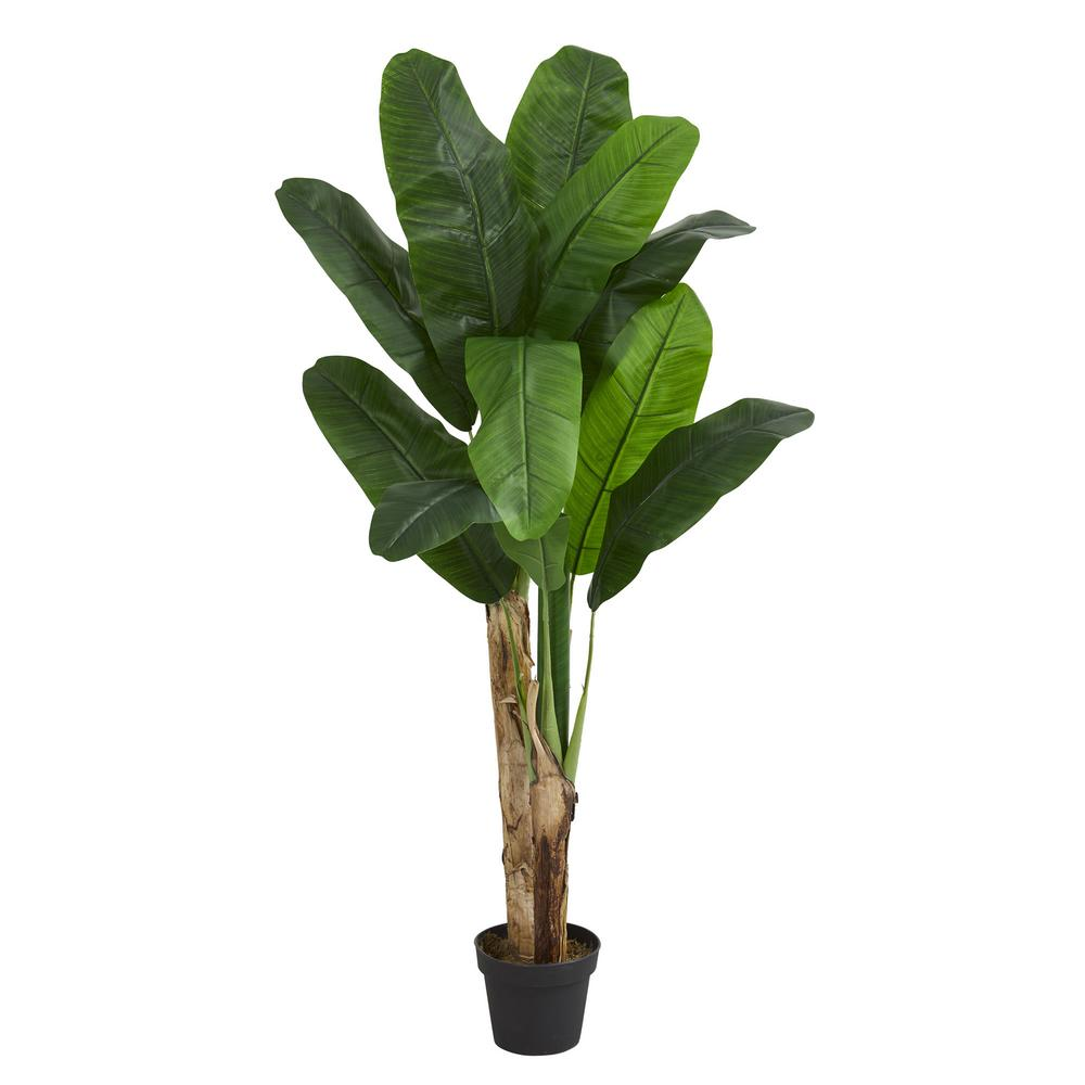 Nearly Natural Indoor 4 Ft Double Stalk Banana Artificial Tree 5576 The Home Depot