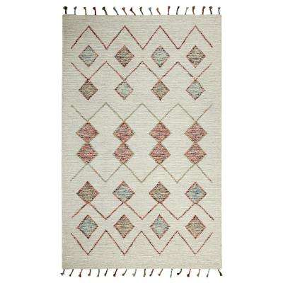 Casablanca Ivory/Multi 5 ft. x 8 ft. Contemporary Wool Area Rug