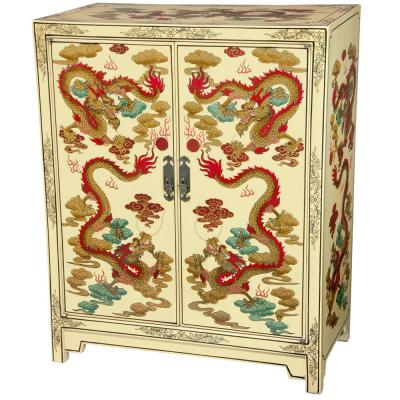 Oriental Furniture Ivory Dragons Lacquer Shoe Cabinet