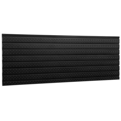 Pro Series 24.5 in. H x 84 in. W Slat Wall Panel Set Diamond Plated Steel Garage Backsplash in Black