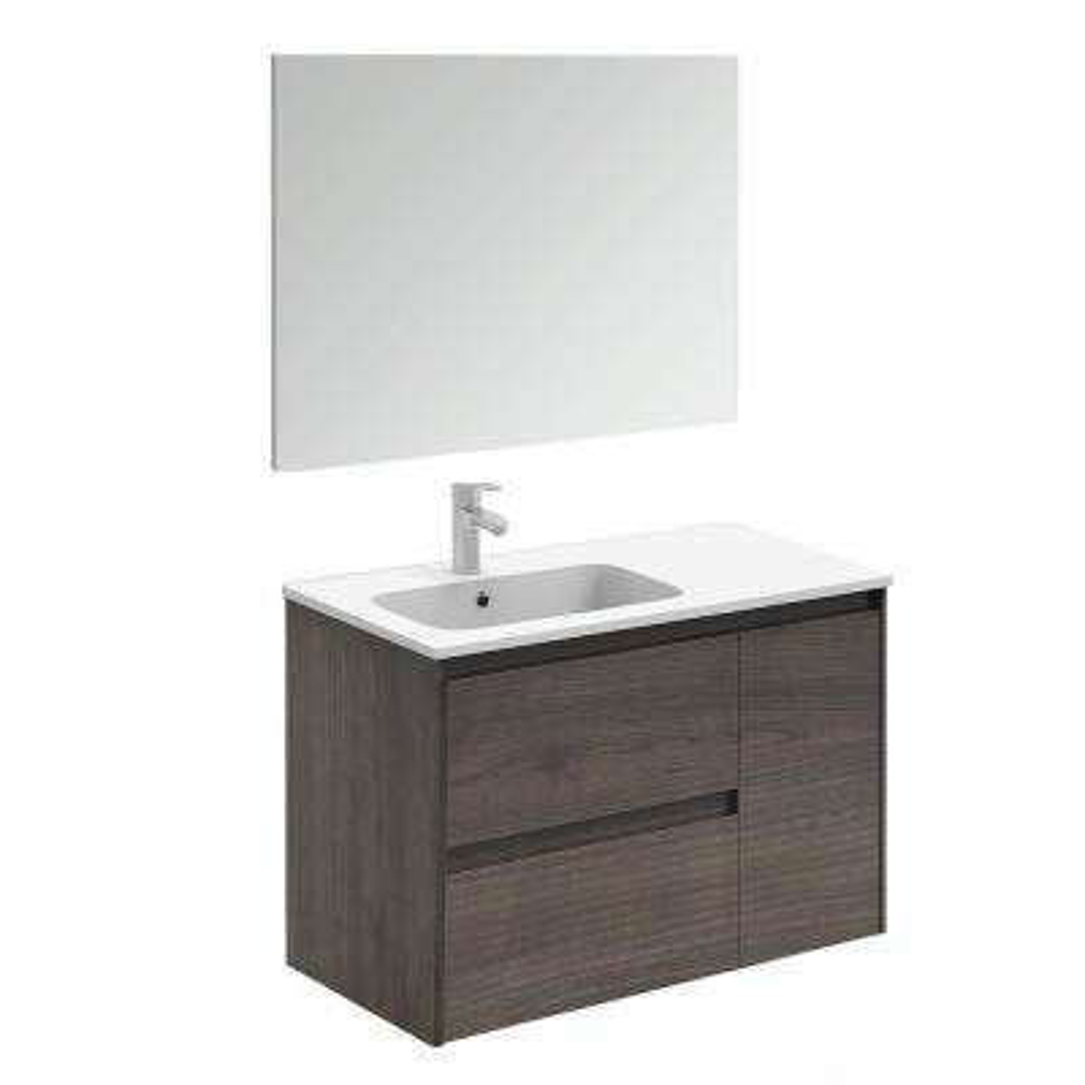 35.6 in. W x 18.1 in. D x 22.3 in. H Complete Bathroom Vanity Unit in Samara Ash with Mirror