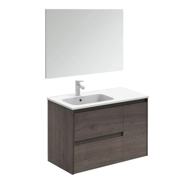 Ws Bath Collections Ambra 35 6 In W X 18 1 In D X 22 3 In H Complete Bathroom Vanity Unit In Samara Ash With Mirror Ambra 90 Pack 1 Sa The Home Depot