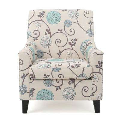 Guyon White and Blue Fabric Club Chair