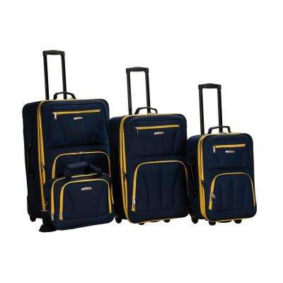 Rockland Sydney Collection Expandable 4-Piece Softside Luggage Set, Navy