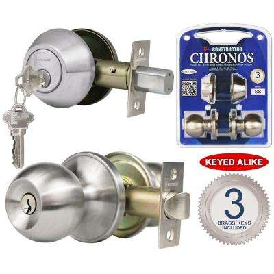 Single Cylinder Stainless Steel Finish Combo Set and Premium Entry Knob Set