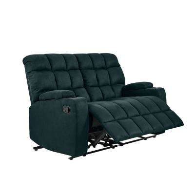 Wall Hugger 2-Seat Storage Reclining Deep Blue Microfiber Loveseat