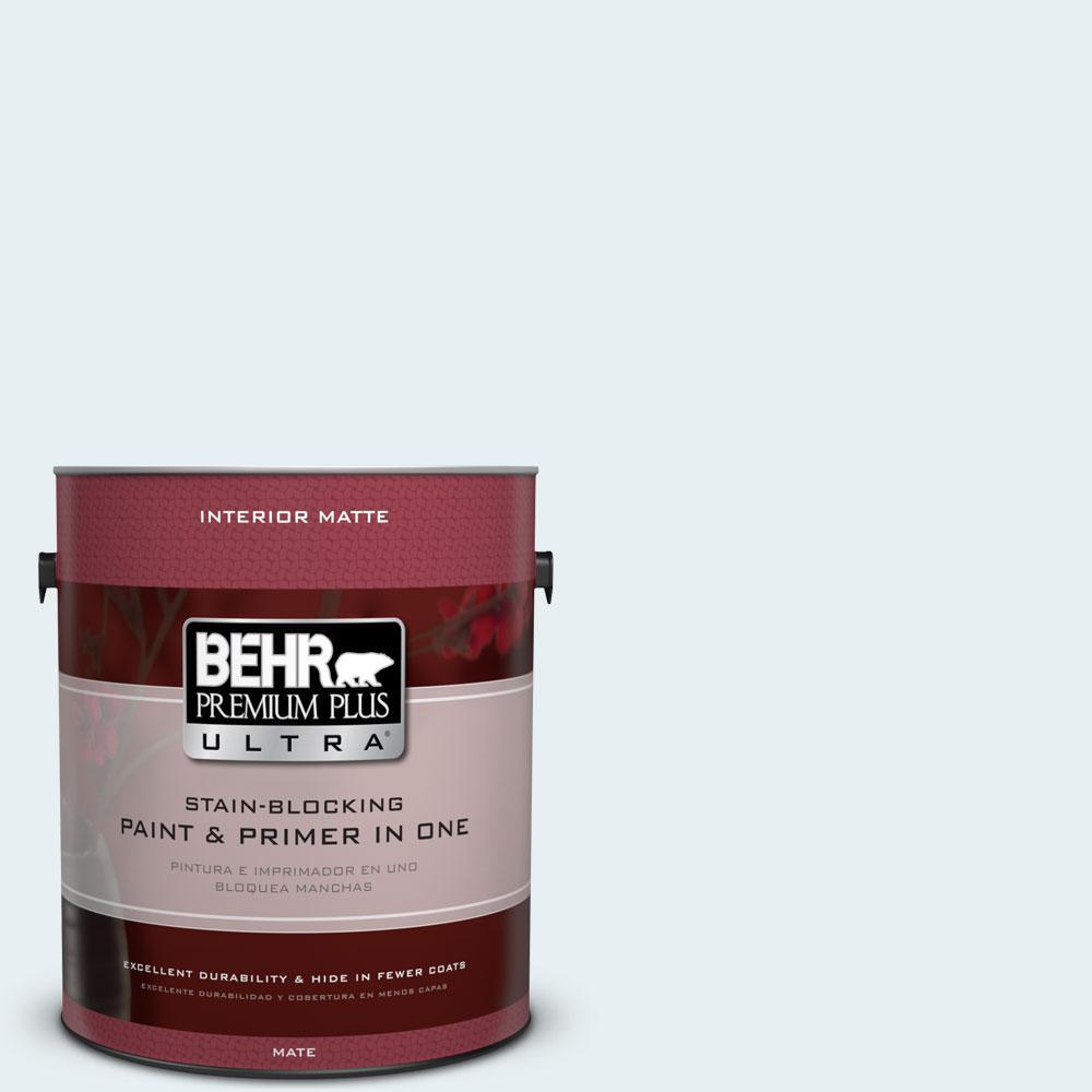 BEHR Premium Plus Ultra 1 gal. #730E-1 Polar White Flat/Matte Interior Paint