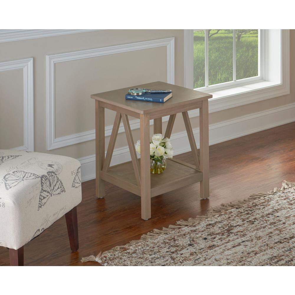 Driftwood End Table: Linon Home Decor Titian Driftwood End Table-86153GRY01U