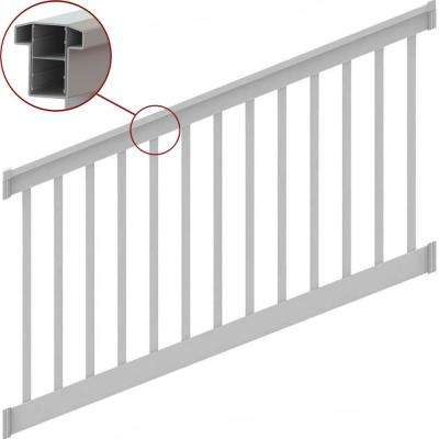 T-Top 8 in. x 36 in. Stair Rail Kit White with Square Balusters 28-38°