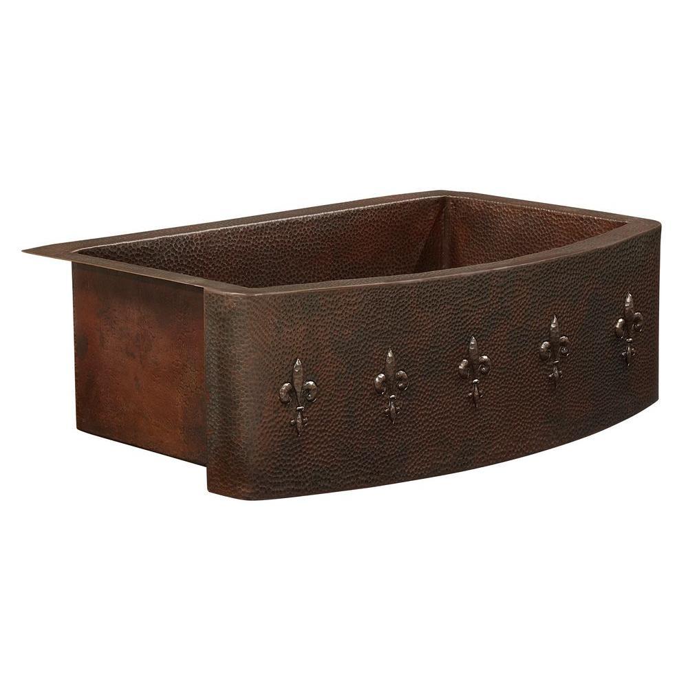 Donatello Farmhouse Apron Front 25 in. Single Bowl Copper Kitchen Sink Bow Front Fluer de lis Design