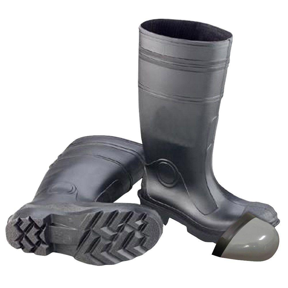 Men's Size 10 Black PVC Steel Toe Waterproof Work Boots
