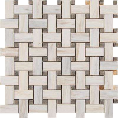 Angora Basketweave 12 in. x 12 in. x 10mm Polished Marble Mesh-Mounted Mosaic Tile (10 sq. ft. / case)