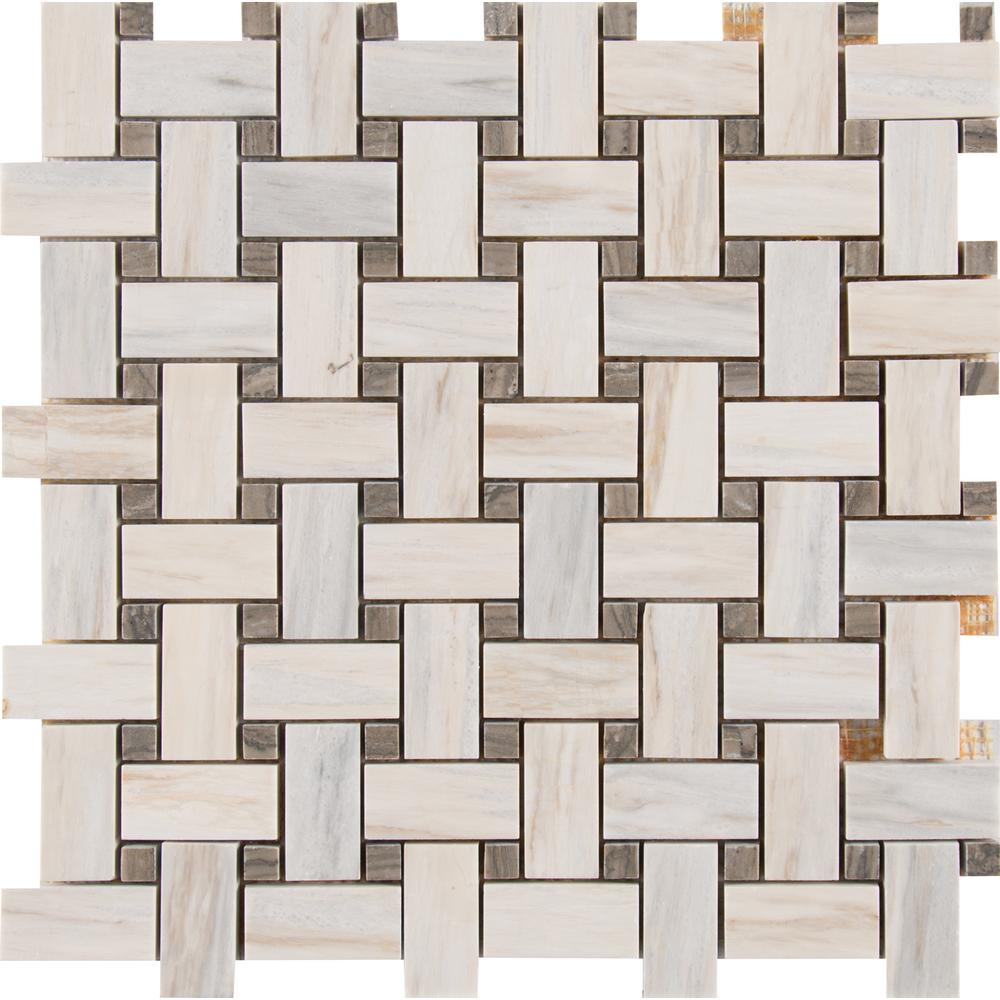 Angora Basketweave 12 in. x 12 in. x 10mm Polished Marble