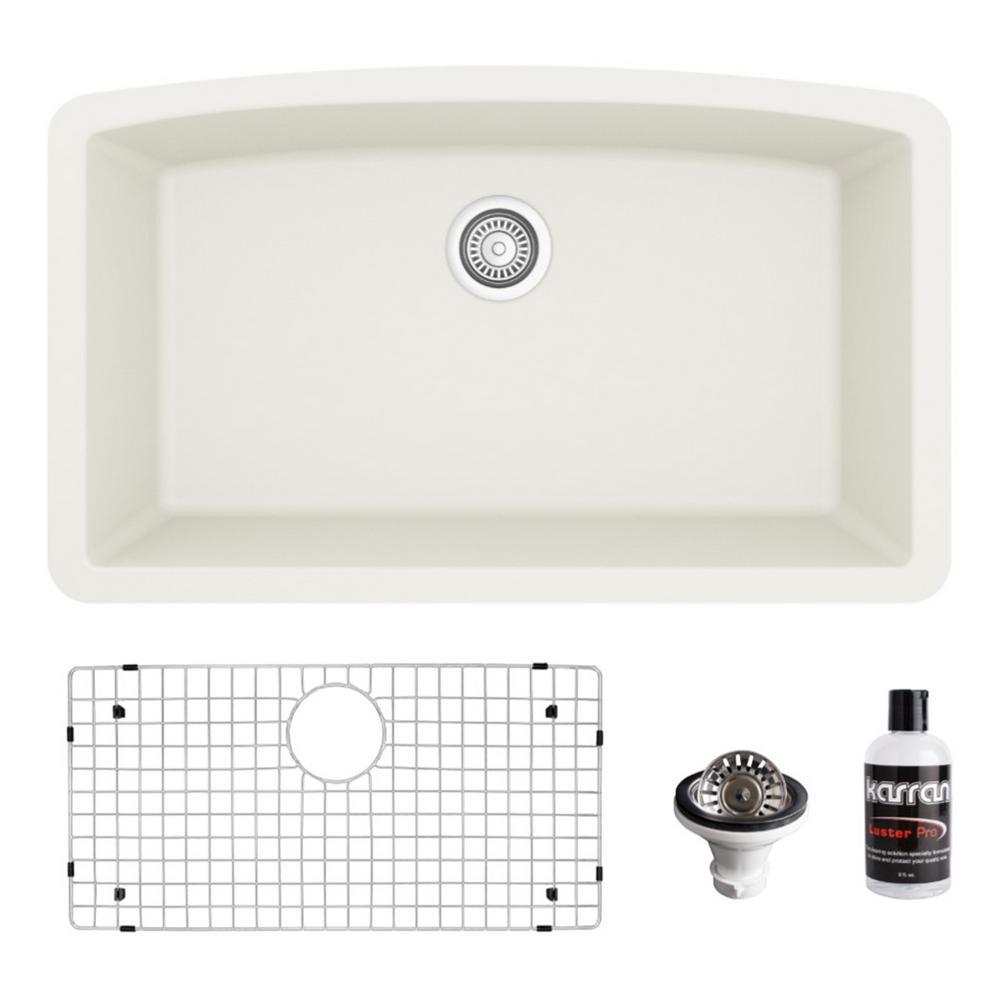 QU-712 Quartz/Granite Composite 32 in. Single Bowl Undermount Kitchen Sink with Grid and Basket Strainer in White