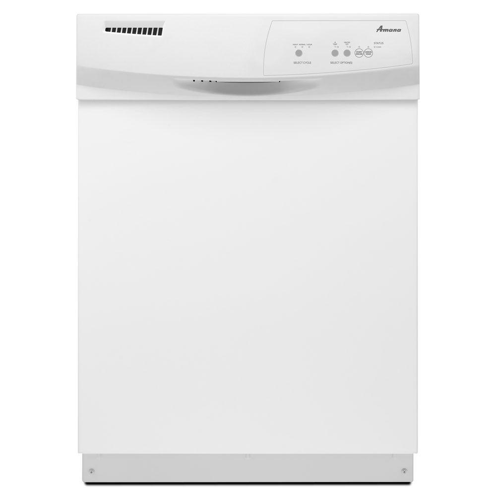 Amana Front Control Built-In Tall Tub Dishwasher in White with Triple Filter Wash System