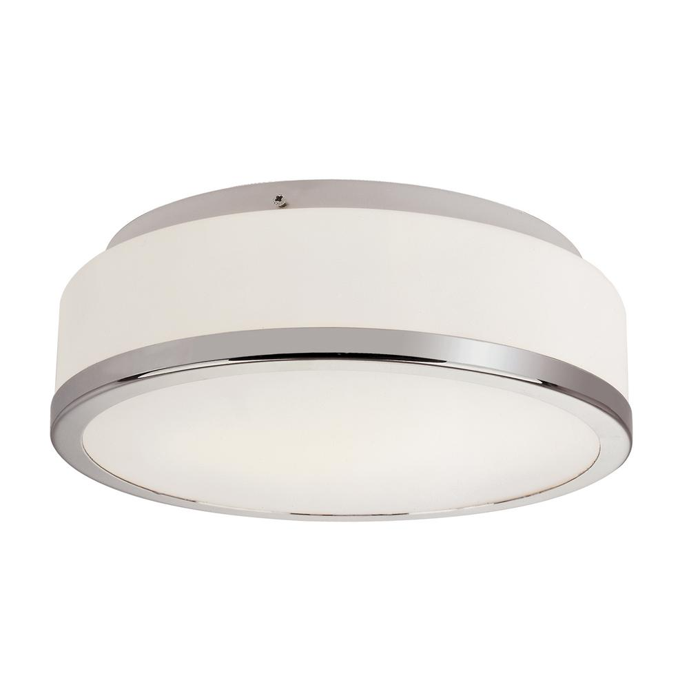 13 in. 2-Light Polished Chrome Flush-Mount with Frosted Glass