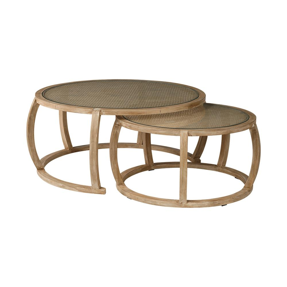 mercana hubbard ii 2 piece 42 in light brown wood large round glass coffee table set with nesting tables 68503 the home depot