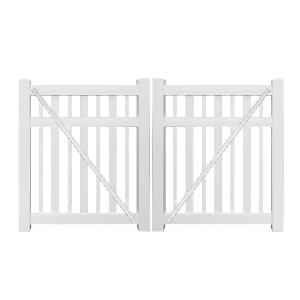 Atlantis 9 ft. W x 5 ft. H White Vinyl Pool Fence Double Gate