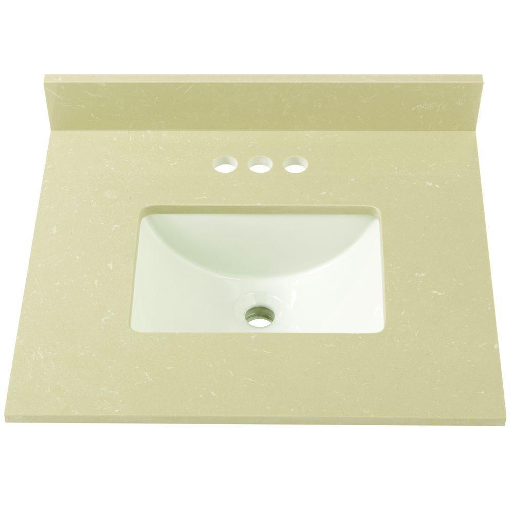 25 in. W Engineered Marble Single Sink Vanity Top in Crema Limestone