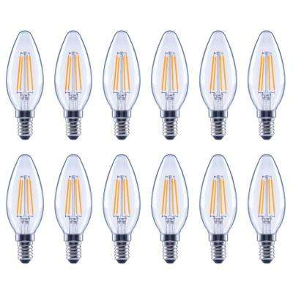 40-Watt Equivalent B11 E12 Dimmable Filament Classic Glass Candelabra LED Light Bulb, Soft White (12-Pack)