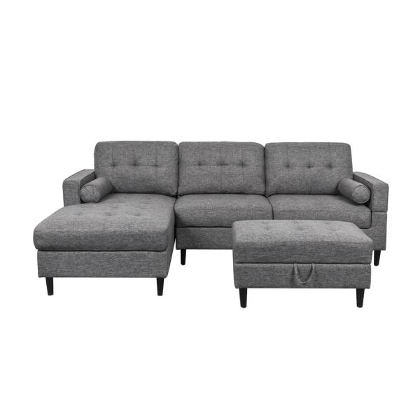 3-Piece Charcoal Tweed Fabric 3-Seater L-Shaped Left-Facing Sectional Sofa with Ottoman