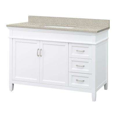 Ashburn 49 in. W x 22 in. D Vanity in White with Engineered Marble Vanity Top in Sedona with White Sink